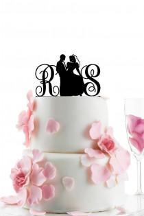 wedding photo - Custom Wedding Cake Topper - Personalized Monogram Cake Topper -Initial -  Cake Decor - Anniversary - Bride and Groom