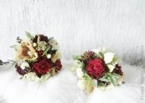 wedding photo - Burgundy and Gold Champagne  bridal bouquet rustic style wedding package bridesmaids bouquets silk flowers Berries arficial wedding