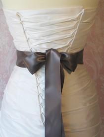 wedding photo - Double Face Pewter Gray Satin Ribbon, 2.25 Inch Wide, Ribbon Sash Dark Grey, Bridal Sash, Wedding Belt, 4 Yards