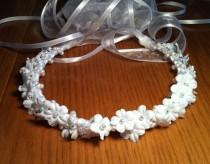 wedding photo - Communion Crown - First Holy Communion Flower & Faux Pearl Bridal Girl Floral Ribbon Halo Piece Wreath Garland white ivory C-Elizabeth