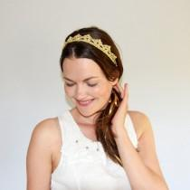 wedding photo - Bohemian Wedding Headpiece, Gold Crown, Lace Crown Headband, Gold Bridal Tiara, Princess Crown, Gold Headband Adult, Gold and Silver Crown