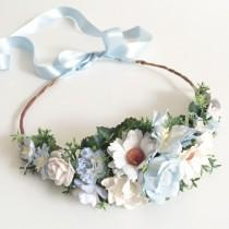 wedding photo - Wedding Flower Crown- Something Blue Headband- Blue Flower Crown- Maternity Photo Prop- Daisy Floral Halo- Flower Girl Headband