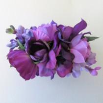 wedding photo - Purple flower Linziclip hair clamp, Purple floral hair claw, purple wedding flowers, special occasion hair, ballerina clip, festival hair