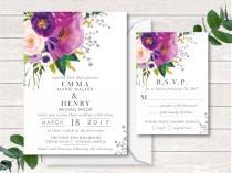 wedding photo - Digital Wedding Invitation, Wedding Invitation Suite, Printable, Digital, Watercolor, Watercolor Wash Pink, Purple, Romantic, Unique,
