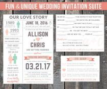wedding photo - Printable Wedding Invitation Suite / Our Love Story / Custom / Destination / Reception Invites / Funny / RSVP Mad Lib / Details Info Card