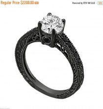 wedding photo - ON SALE Natural White & Black Diamond Engagement Ring 14K Black Gold 0.72 Carat Certified Unique Antique Vintage Style Engraved Handmade