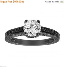 wedding photo - ON SALE Natural White & Black Diamond Engagement Ring Antique Vintage Style Engraved 14K Black Gold 1.22 Carat Certified Handmade