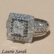 wedding photo - Diamond Ring, Princess Cut Diamond Statement Ring with Black & White Diamond Double Halo - LS1080