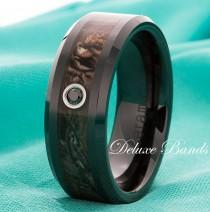 wedding photo - Black Diamond Black Ceramic Camo Inlay Wedding Band Mens Womens Black Diamond Camo Ring 8mm Ceramic Anniversary Ring Ceramic Camouflage Band