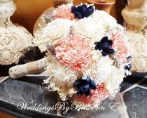 wedding photo - Salmon Dusty Rose Blush Navy Sola Flower Bouquet, Burlap and Lace, Alternative Bouquet Rustic Shabby,Bridal Accessories,Keepsake Bouquet