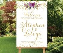 wedding photo - Printable Large Wedding Welcome Sign Reception Entrance Sign Purple Flower Gold Confetti The Carmel