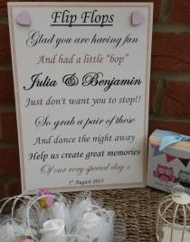 wedding photo - A4 Personalised Flip flop sandals tired dancing feet Vintage Style Wedding Sign  - ANY colour butterflies