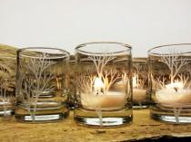 wedding photo - 50 Piece Set 'Tree Branch' Candle Holders Wedding Favors Engraved Glass Votive Holders Fall Decor Woodland Wedding
