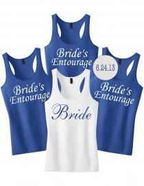wedding photo - Bachelorette Party Shirts 9 with Custom Date or Name.Set of 9 Bridesmaid Shirts.9 Bridesmaids Tanks.Custom Bachelorette Tanks.Bride Tank Top