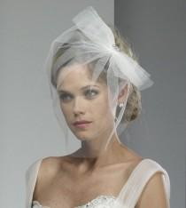 wedding photo - Wedding Veil - Tulle Birdcage with Bow and Broach - made to order