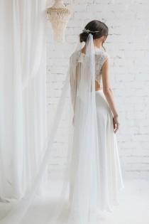wedding photo - Wedding Veil, Draped Veil ,  Bohemian  Veil ,Chapel Waltz Cathedral Wedding Veil, Beach Wedding Veil, Ivory White Veil - Chloe