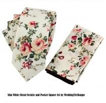 wedding photo - Wedding Tie Pink White Floral Tie with Pocket Square Wedding Flower Necktie Cotton Groomsmen Ties Groomsman Wedding Neckties Best Man Groom