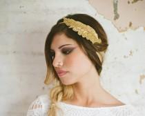 wedding photo - Grecian Goddess Gold Beaded Leaf Headband