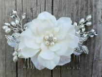 wedding photo - Bridal Hair Comb, Wedding Comb, Ivory Comb, Floral Wedding Comb, ivory Bridal Comb,  Ivory Hair Comb,Freshwater Pearls, crystal comb