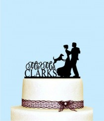 wedding photo - Wedding Cake Topper with Dog, Wedding Cake Topper with Last Name, Cake Topper for Wedding, Mr and Mrs Cake Topper, Custom Last Name