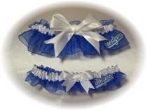 wedding photo - Los Angeles Dodgers Wedding Garter Set   LA  Handmade   Keepsake and Toss  rww