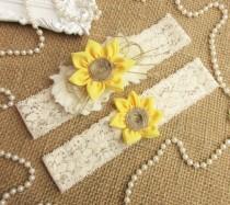 wedding photo - Sunflower Wedding Garter Set,Rustic Country Chic Wedding Garter Set,Keepsake & Toss garter Set