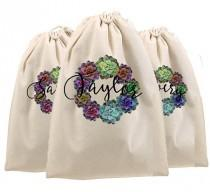 wedding photo - Shoe Bags, Personalized shoe bag, monogrammed shoe bag, canvas drawstring bag, Golf shoe bag, bridesmaid gift bags, bride tribe bags, travel