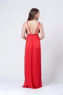 wedding photo - Cocktail Dress, Red Dress, Satin Dress, Evening Dress, Bridesmaid Dress, Long Dress, Maxi Dress, Sexy Dress, Open Back Dress, Backless Dress