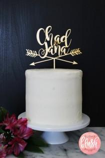 wedding photo - Personalized Modern Rustic Arrow Wedding Cake Topper