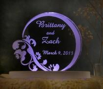 wedding photo - Floral  Contemporary  Wedding Cake Topper  - Engraved & Personalized - Light Extra