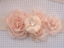 wedding photo - Bridal Sash Wedding Sash Wedding Belt Blush Sash Bridesmaid Satin Sash Blush Flowers Flower Girl Bridesmaids Wedding Sash Bridal Sash