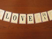 wedding photo - Carte Postale Vintage Airmail Wedding Garland, party decoration, wedding banner, travel theme, bridal shower, going away party, travel theme