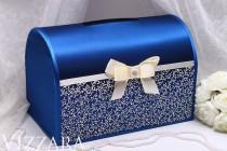 wedding photo - Wedding Box Navy blue Hand-PAINTED - Wedding box card holder money box Wedding gift box Box For Envelopes card box Personalized wedding box