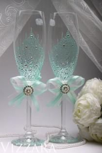 wedding photo - Wedding glasses MINT Wedding hand painted Toasting Glasses Wedding Champagne Glasses winter Wedding set ceremony Glasses AQUA Wedding Favors
