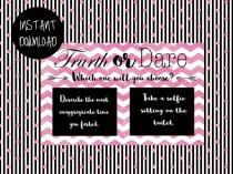 wedding photo - Truth or Dare, Bachelorette, Hens, Party Game, Girls Night PRINTABLE INSTANT DOWNLOAD