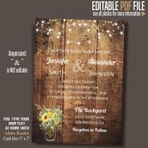 wedding photo - Sunflower mason jar Wedding Invitation, Barn Wedding invitation, Rustic wedding invite, Instant Download Self Editable PDF file A088-A225