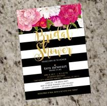 wedding photo - Kate Spade Inspired Black White Striped Bridal Shower Invitation with Gold Accent - DIY Print Your Own