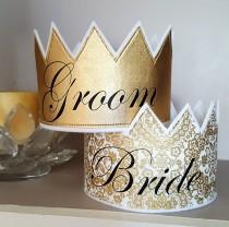 wedding photo - Wedding Crowns, Engagement Crowns, Wedding Rehearsal Crowns, Bride and Groom, Bride and Groom Crowns, Wedding Favors, Groom Gift
