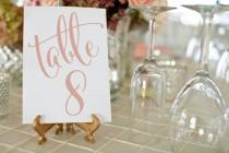 wedding photo - Rose Gold Wedding Table Numbers ⋆ 1-50 Printable Wedding Table Numbers ⋆ Rose Gold Wedding Decor ⋆ DIY Table Numbers ⋆ 5x7 ⋆ #KKD105