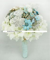 wedding photo - 9 Inch Bridal Flower Wedding Jewelry Brooch Bouquet Bling Crystal Silk Flower Pearl Rhinestone made Blue Wedding -20