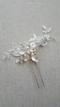 wedding photo - Wedding Hair Pins, Bridal Hair Pins, Lace Wedding Hair Pins