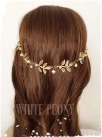 "wedding photo - Greek Goddess Laurel Leaf Hair Swag-Boho Gold Leaf Tiara-Grecian Leaves Headpiece Hair Drape-Art Deco Swarovski Pearl Headband-""ATHENA"""