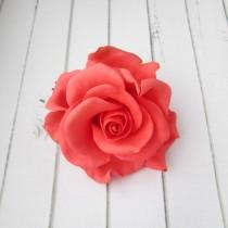 wedding photo - Coral Rose Hairpin - Red Flowers Hair Pin Decoration - Flowers hair accessories - Prom Hair Accessories Flowers - Formal Hair Accessories