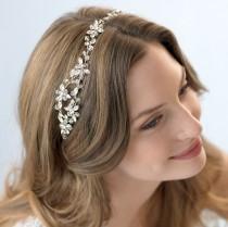 wedding photo - Crystal Wedding Headband, Rhinestone Bridal Headband, Crystal Headband, Floral Headband, Headband for Bride, Bridal Hair Accessory ~TI-3232