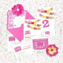 wedding photo - fiesta printable wedding stationery set invitation suite mexican papel picado invite, reception or ceremony package mexico colorful party