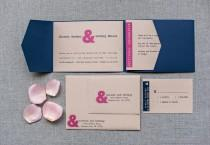 wedding photo - Modern Navy and Pink Ampersand Wedding Pocket Invitation