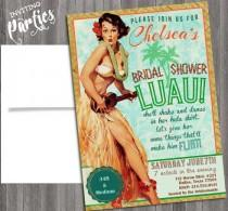 wedding photo - hawaiian Luau Vintage Pin Up Girl Invitation- Bachelorette, Hens night, Lingerie Shower Birthday party diy print file Printed Optional