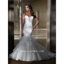 wedding photo - 2017 Demure Mermaid/Trumpet Strapless Sweetheart Sleeveless Beading and Applique Court Train Organza Wedding Dresses - dressosity.com