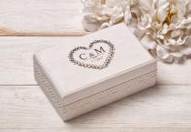 wedding photo - Wedding Ring Pillow, Ring Bearer Pillow, Ring Box,Ring Bearer Box, Wedding Ring Holder,  White Wedding Ring Box, Shabby Chic Wedding
