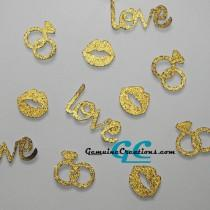 wedding photo - Wedding Table Confetti - 100 Gold or Silver Diamond Rings, LOVE, Kisses - Bridal, Engagement Party, Reception Decoration
